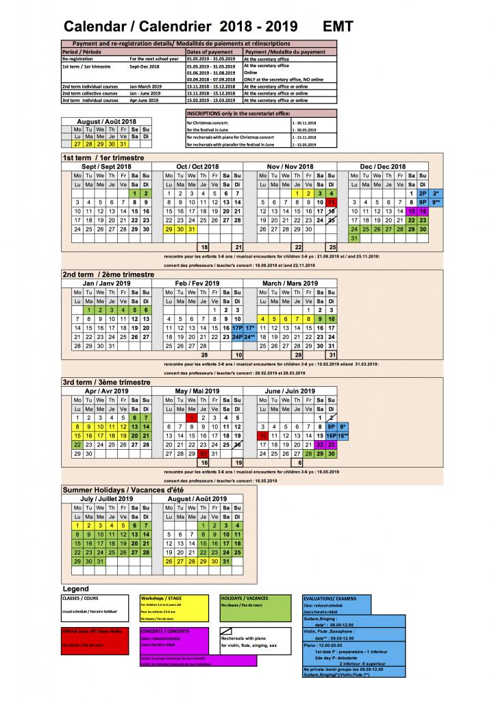 2018 2019 Calendar Calendrier EMT FR ANGL - v3
